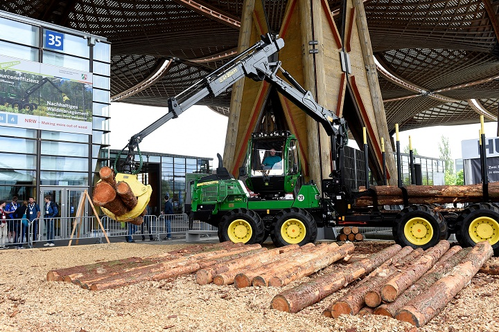 Forwarder John Deere during the fair Ligna in Germany.